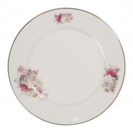 Farfurie din portelan alb cu decor floral roz Ø 21 cm x 2 h