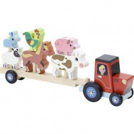 Jucarie camion din lemn pentru transportat animale