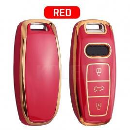 Husa cheie audi q8 a8 smartkey tpu+pc rosu cu contur gold