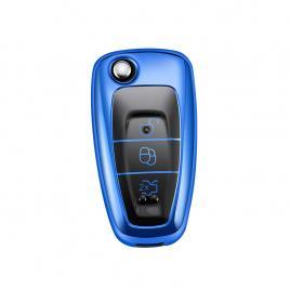 Husa cheie auto ford tpu+pc albastra cu butoane negre cheie briceag (ford focus, fiesta,transit)