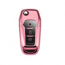 Husa cheie auto ford tpu+pc roz cu butoane negre cheie briceag (ford ranger, ford puma)