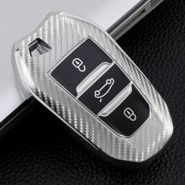 Husa cheie auto peugeot smartkey tpu+pc silver carbon