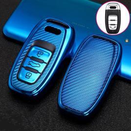 Husa cheie smartkey audi 3 butoane albastru carbon tpu+pc audi a6 a7 a8 4g