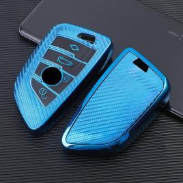 Husa cheie smartkey bmw 3/4 butoane seria g albastra tpu+pc carbon