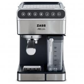 Espressor de cafea zass zem 10, presiune 16 bari, putere 1350w, rezervor apa 1,8l, rezervor lapte 0,5l, functioneaza cu cafea macinata si tip ese, panou touch, carcasa inox