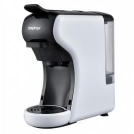 Espressor de cafea Zephyr pentru capsule Dolce Gusto, Lavazza Blue si cafea macinata, 1450W, 19 bar, alb/negru