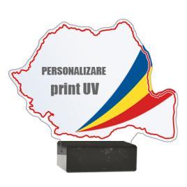 Trofeu din Acril Romania Dimensiune 19x17 cm