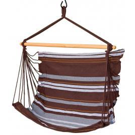 Hamac brazilian tip scaun suspendat pentru curte sau gradina, 100x100cm, maro/gri