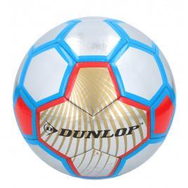 Minge de fotbal dunlop soccer metalic, marimea 5, albastru/rosu