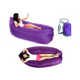 Saltea gonflabila tip sezlong lazy bag pentru plaja sau piscina, umflare rapida fara pompa + rucsac depozitare, culoare mov