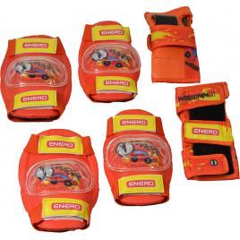 Set echipament de protectie genunchiere, cotiere si manusi enero, pentru copii, marimea m, portocaliu