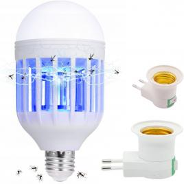 Bec led cu lampa uv anti-insecte 2 in 1, raza de actiune 40mp, dulie e27, 9w