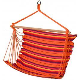 Hamac brazilian tip scaun suspendat pentru curte sau gradina, 100x100cm, portocaliu/rosu