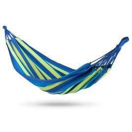 Hamac malaga single pentru curte sau gradina, 1 persoana, dimensiuni 200 x 100 cm, capacitate 100kg, albastru/verde