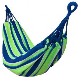 Hamac single pentru curte sau gradina, dimensiuni 200x100cm, cu sac de depozitare, capacitate 130kg, albastru/verde