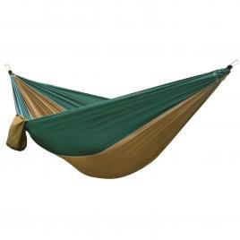 Hamac ultra light pentru gradina sau camping, 265x140cm, capacitate 150kg, verde/maro