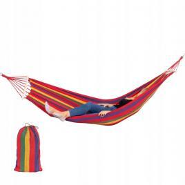 Hamac single pentru terasa, curte sau gradina, capacitate 150kg, dimeniuni 200x80cm, multicolor