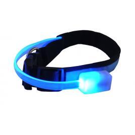 Zgarda pentru caini reglabila cu lumini led, marime m, culoare albastru