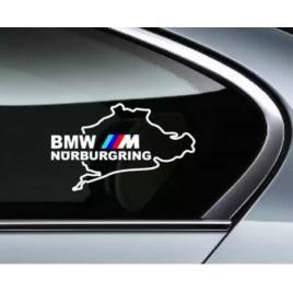 Sticker auto pentru geamuri bmw m nurburgring, alb