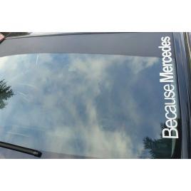 Sticker auto parbriz because mercedes, alb