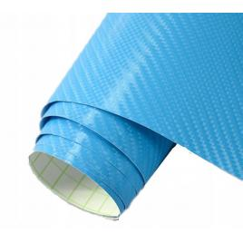 Folie carbon 3d albastru, 1x1.5m, tehnologie de eliminare a bulelor de aer