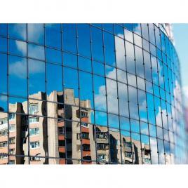 Folie geamuri pentru cladiri cu protectie solara, argintiu, transparenta 5%, 1x0.5m
