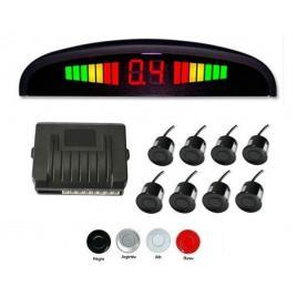Senzori parcare fata spate cu 8 senzori si display led, argintiu