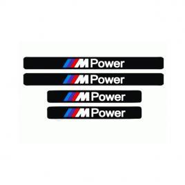 Set stickere auto protectie praguri bmw m power, cu scris alb, 4buc