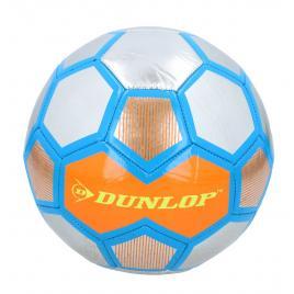 Minge de fotbal dunlop soccer metalic, marimea 5, albastru/portocaliu