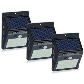 Set 3 lampi solare cu 30 led, senzor de miscare si senzor de lumina