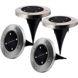 Set 4 lampi solare cu 4 led-uri si senzor de lumina disk lights