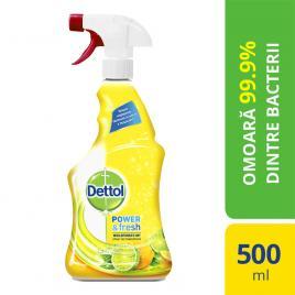 Spray dezinfectant multifunctional Dettol Power & Fresh, Sparkling Lemon & Lime Burst, 500 ml
