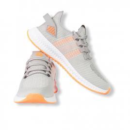 Sneakers Letoon gri-orange din material textil flexibil 2103