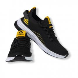 Sneakers Letoon negru-galben din material textil flexibil 2102