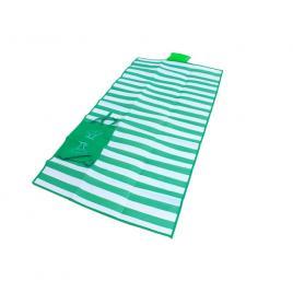 Saltea de plaja din pvc cu pernita gonflabila, pliabila tip sacosa, culoare verde
