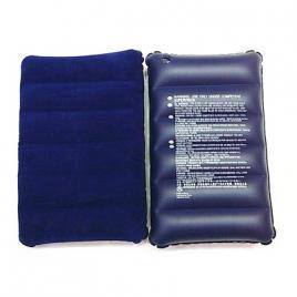 Perna gonflabila catifelata, albastra pentru camping, 41 x 26 x 7 cm DEK9003