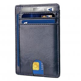 Portofel Ultra Slim, Blocare RFID, Unisex, Culoare Albastru Ocean