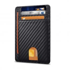 Portofel Ultra Slim, Blocare RFID, Unisex, Culoare Carbon