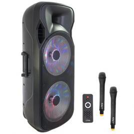 Boxa portabila iluminata led 250w cu bluetoth, usb, fm, 2 microfoane wireless