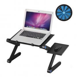 Masa de laptop din aluminiu, cooler incorporat si suport lateral pentru mouse