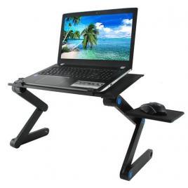 Masuta tip suport portabil pentru laptop si mouse, cooler incorporat,  picioare pliabile si unghi reglabil, culoare negru