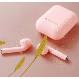 Casti Wireless, InPods 12, Roz mat (peach) EarBuds, pentru iOs & Android, Bluetooth 5.0, Bass Boost