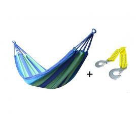 Set hamac multicolor pentru curte sau gradina, dimensiuni 200x100 + franghie suspendare hamac, lungime 3 m, carlige prindere metal