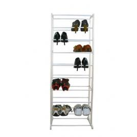 Suport raft pentru depozitare incaltaminte, capacitate 30 perechi de pantofi, culoare alb