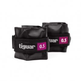 Set 2 greutati fitness, Tiguar, 2 x 0.5 Kg , prindere velcro, negre