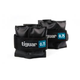 Set 2 greutati fitness, Tiguar, 2 x 0.75 Kg , prindere velcro, negru