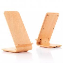 Suport de Birou pentru Telefon si Incarcator Wireless cu efect Bambus