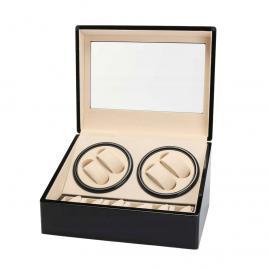 Cutie neagra rotire 4 ceasuri automate + 6 spatii pentru ceasuri, piele ecologica, premium