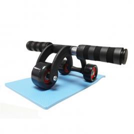 Aparat fitness multifunctional cu 3 roti si manere ergonomice pentru abdomen si spate