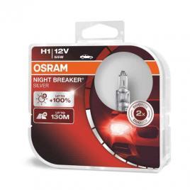 Becuri auto h1 far halogen osram night breaker silver 12v 55w p14.5s set de 2 buc 64150nbs-hcb kft auto